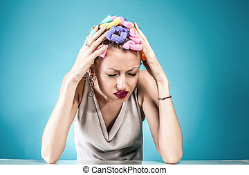 concept., femme, douleur, headache.