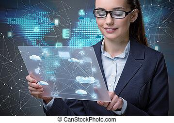 concept, femme, nuage, tablette, calculer