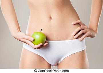 concept, femme, régime, body., parfait, mince