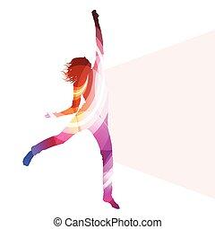 concept, femme, silhouette, coloré, sauter, vecteur, ...