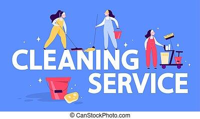 concept., femme, toile, nettoyage, bannière, lavette, service