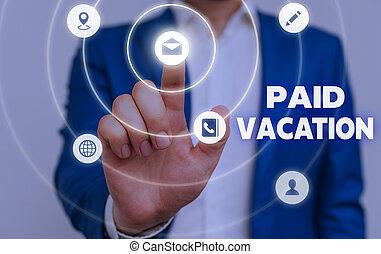 concept, fermé, vacation., texte, payé, signification, benefits., sabbatique, temps, écriture, vacances, week-end
