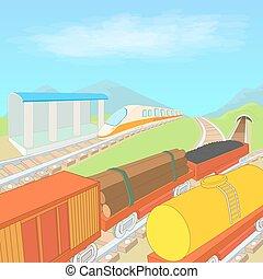 concept, ferroviaire, style, dessin animé