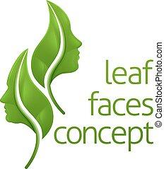 concept, feuille, faces