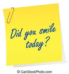 """concept, feuille, motivation, question, """"did, today?"""", papier, mots, sourire, vous"""