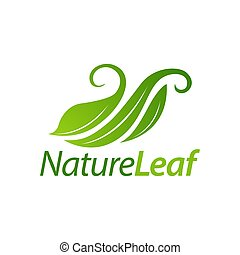 concept, feuille, nature, conception, gabarit, logo, vert, icône