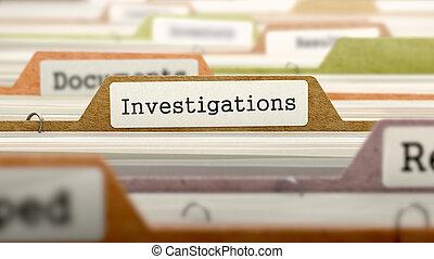 concept, fichier, label., investigations