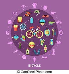 concept, fiets, illustratie