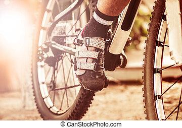 concept, fiets, op, afsluiten, voet pedaal, sportende