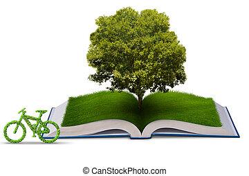 concept, fiets, -, vertolking, ecologisch, boek, open, 3d