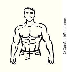 concept, figure, illustration, silhouette., culturiste, vecteur, arrière-plan noir, blanc, homme