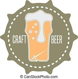 concept, fil, aiguille, étiquette, bière, métier