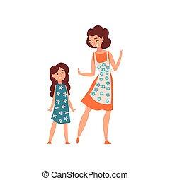 concept, fille, bon, maman, elle, mère, illustration, parenting, vecteur, maternité, temps, gosse, avoir