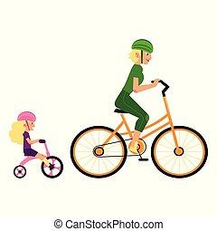 concept, fille, famille, sports, protection, mère, équitation, sport, cycles.