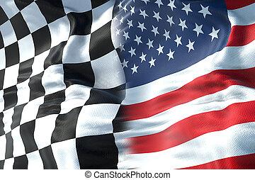 concept, fin, drapeau etats-unis, uni, concurrence, une, etats, amérique, checkered, drapeaux, course, moitié, formule, sport