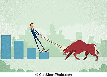concept, finance, business, échange, commerçant, inverstor, haut, actions, courtier, taureau, poussée, homme affaires, prise, marché, stockage