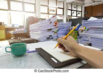 concept, finance, business, fonctionnement, bureau, écriture, cahier, tas, fond, homme affaires, documents, inachevé