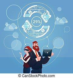 concept, finance, business, mise jour, réalité, femme, usure, flèche, numérique, reussite, homme, lunettes
