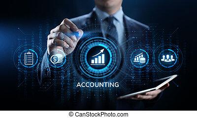 concept., finance, kalkulace, povolání, účetnictví, bankovnictví, účetnictví