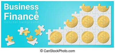 concept, financiën, zakelijk, geld, raadsel, jigsaw, 1, achtergrond