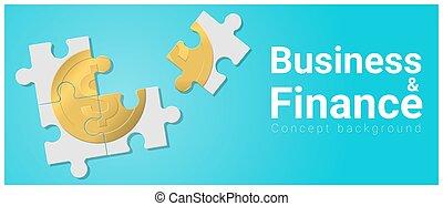 concept, financiën, zakelijk, geld, raadsel, jigsaw, 2, achtergrond
