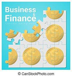 concept, financiën, zakelijk, geld, raadsel, jigsaw, 4, achtergrond