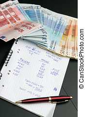 concept, financieel, geld., berekeningen, schaduw, eurobiljet, economie