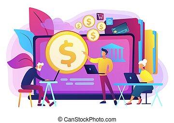 concept, financieel, illustration., vector, pensioentrekkeren, geletterdheid