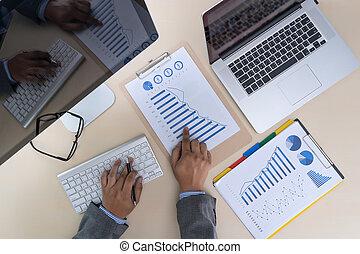 concept, financieel, teamwork, rapporten, analyzing, boekhouding