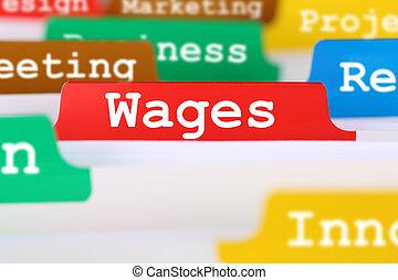 concept, financieel, zakelijk, registreren, documenten, werknemer, lonen