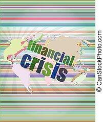 concept, financier, business, écran, -, illustration, toucher, vecteur, crise
