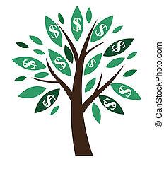 concept., financier, -, business., arbre, argent, réussi, symbole, illustration