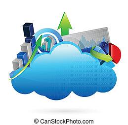 concept, financier, business, calculer, nuage, économie