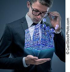 concept, financier, business, cube, tenue, homme affaires