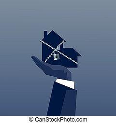 concept, financier, business, enchaîné, maison, possession main, dette, crise, homme