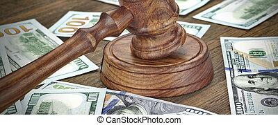 concept, financier, enchère, argent, crime, fond, marteau, ou