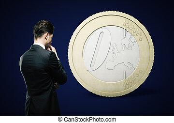 concept financier, euro, sombre