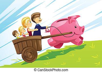 concept, financier, famille