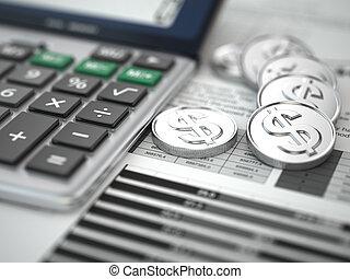 concept., financier, graph., pièces, calculatrice
