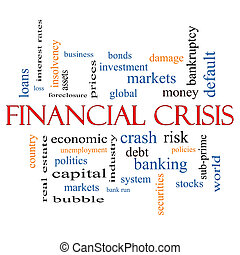 concept financier, mot, crise, nuage