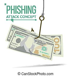concept, financier, phishing, argent, hacher, illustration, attack., vector., bankruptcy., dessin animé