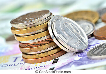 concept, financier, tchèque, pièces, -, billets banque