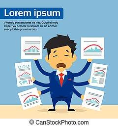 concept, financier, tendance, beaucoup, diagrammes, mains, négatif, bas, documents, papier, flèche, graphique, homme affaires, prise, crise, rouges