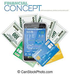 concept, financier, touchphone