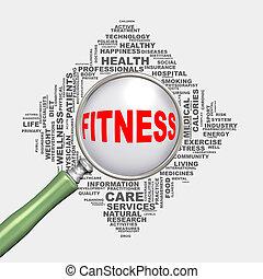 concept, fitness, wordcloud, healthcare, loupe, 3d