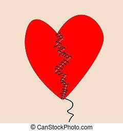 concept, fixation, thread.eps, deux, sewed, moitiés, coeur noir, cassé