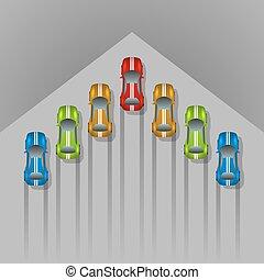 concept, flèche, formé, voiture, space., fond, copie, courses