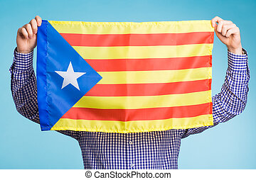concept, flag., referendum, séparation, pro-independence, homme, espagne, catalogne