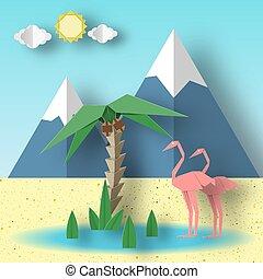 concept, flamingo., été, papier, origami