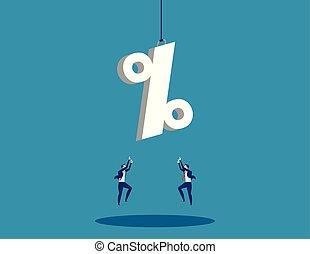 concept, flat., business, reussite, atteindre, signe., vecteur, homme affaires, pourcentage, illustration.